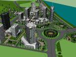安康未来城市规划设计建筑SU模型