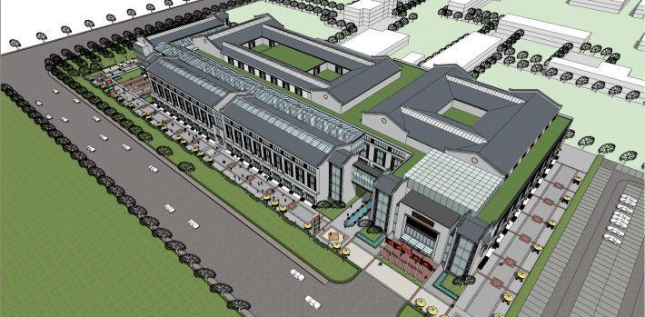 现代中式商业街及商场设计(SU模型)