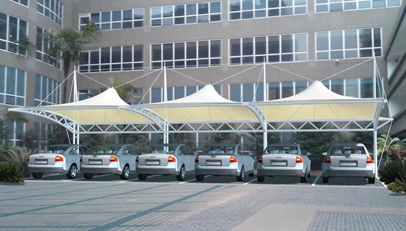 车棚膜结构设计与安装过程_1