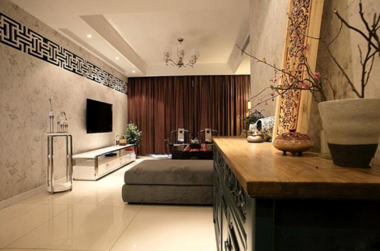 优雅中式二居室精致线条室内设计实景图