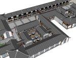 仿古中式风格,两层仿古建商业街设计(su模型)