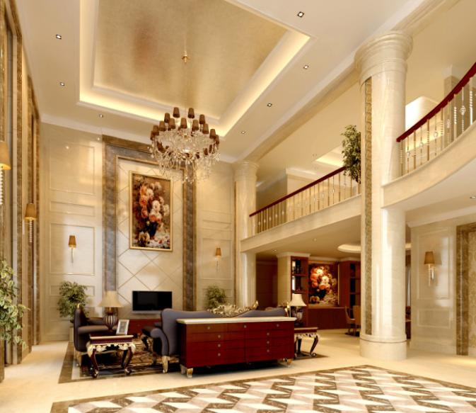 上千家(泉州)三层别墅室内设计施工图(含效果图)-客厅效果图