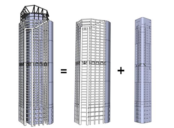 高烈度区三角形平面高层塔楼外框核心筒+伸臂结构设计