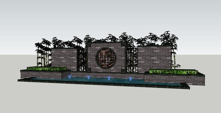 [景觀小品]新中式水景墻SU模型.skp