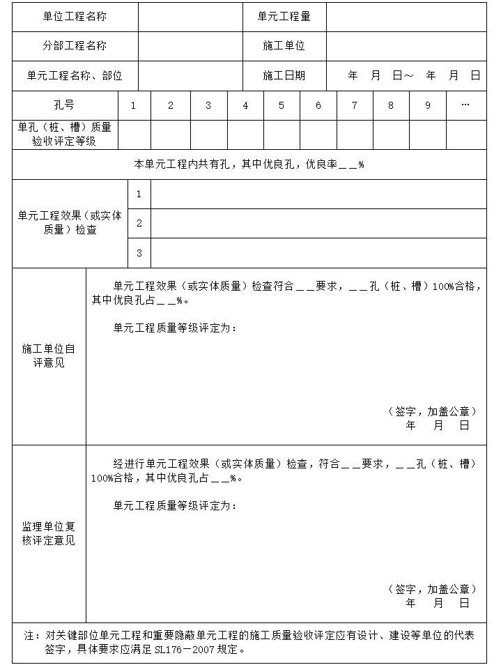 2013水利水电工程施工质量验收评定表及填表说明_3