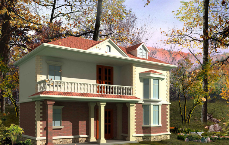 农村二层别墅盖房设计案例效果图-别墅12