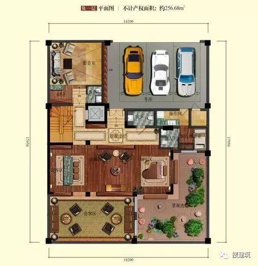 万科罕见的270㎡5房6卫双拼户型,庭院高达228㎡_5