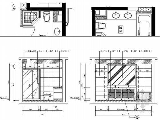 [北京]房山区现代高档四居室样板间装修施工图主卫立面图