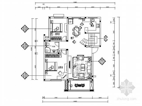 220平欧式风情跃层室内设计CAD装修图(含效果)