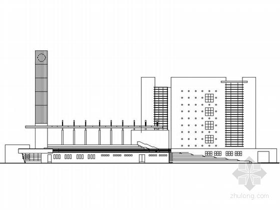 多层现代风格学校规划及单体剖面图
