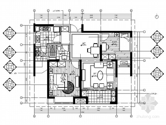 [上海]精品时尚简欧风格商品两居室样板间CAD装修施工图(含效果)
