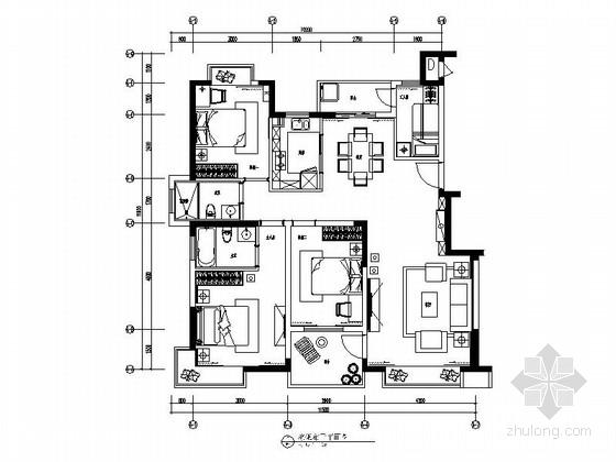 [广州]精品现代时尚三居室样板间装修施工图(含效果)