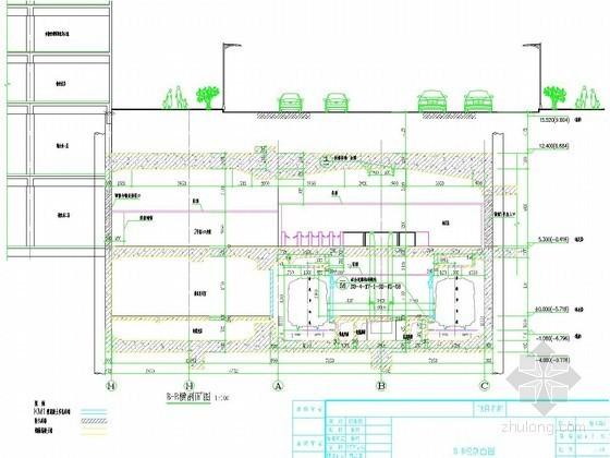 [江苏]外包总长285m全明挖地下二层无柱地铁车站施工图65张(4个出入口2个风亭)