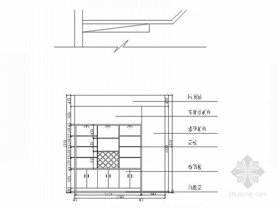 [江西]特色老字号高档饭店装修施工图(含效果)酒柜立面图
