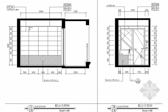 西南区繁华经济中心花园小区现代风格两居室装修图 厨房立面图