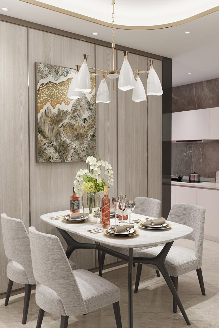 单色|现代风餐厅餐桌设计3D模型(附效果图)