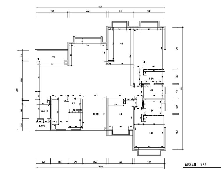 大观天下D2-2户型中式风样板房设计施工图(附效果图)