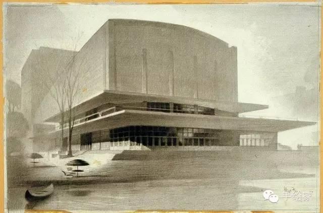 百年经典建筑设计手绘图_46