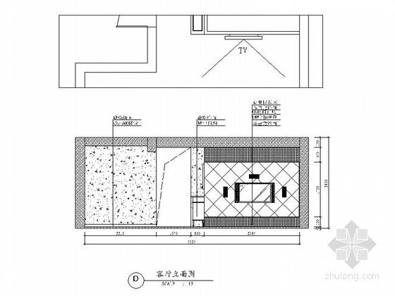 [广州]花园住宅简欧三居室样板房装修图(含效果)客厅立面图