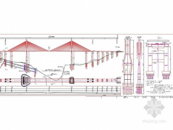 [贵州]27米宽斜拉桥花瓶型24对空间索双索面索塔主塔设计图纸161张