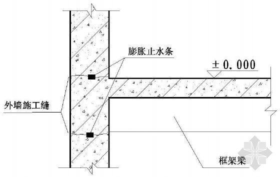 外墙施工缝防水处理示意图