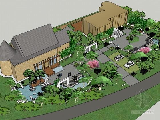 游园景观SketchUp模型下载