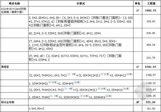 工程量自动计算结果表格(新增文字注释上标功能)