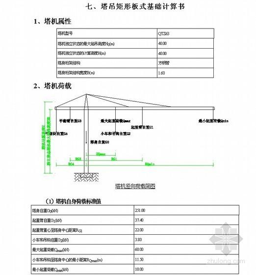 QTZ63型塔吊施工专项方案(矩形板式基础计算书)