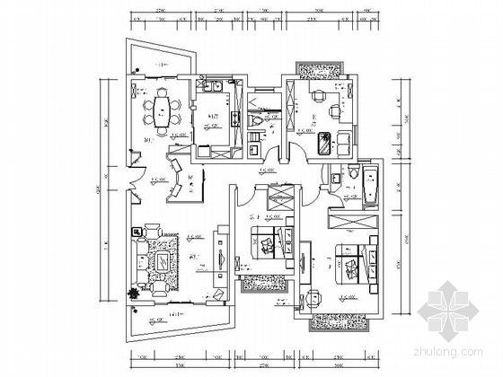 高档小区现代三居室室内装修施工图
