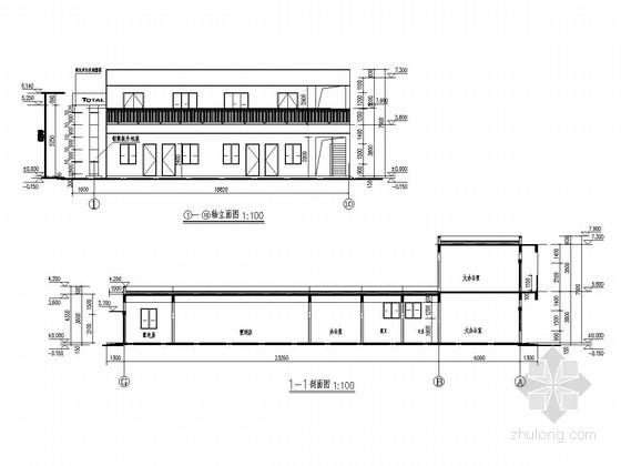 [武汉]两层框架结构交通服务站站房及罩棚结构施工图(含建筑图)