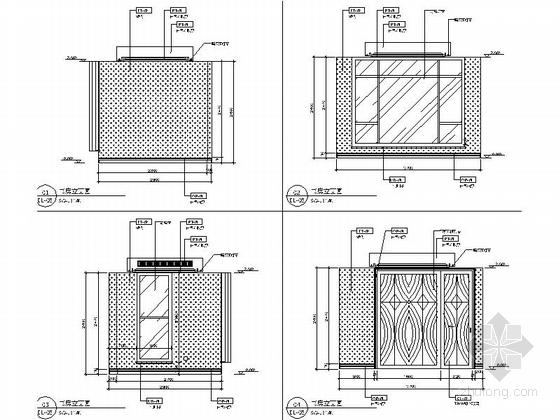 [昆山]顶级住宅时尚现代两层别墅样板房装修图书房立面图
