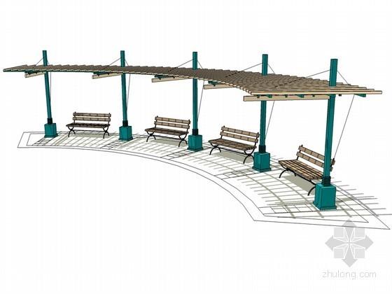 弧形花架SketchUp模型下载