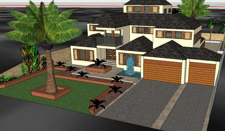 私家花园庭院庭院景观设计模型-场景二