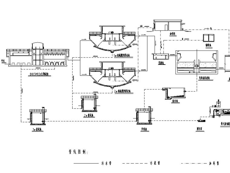电厂中水回用流程施工图(CAD)