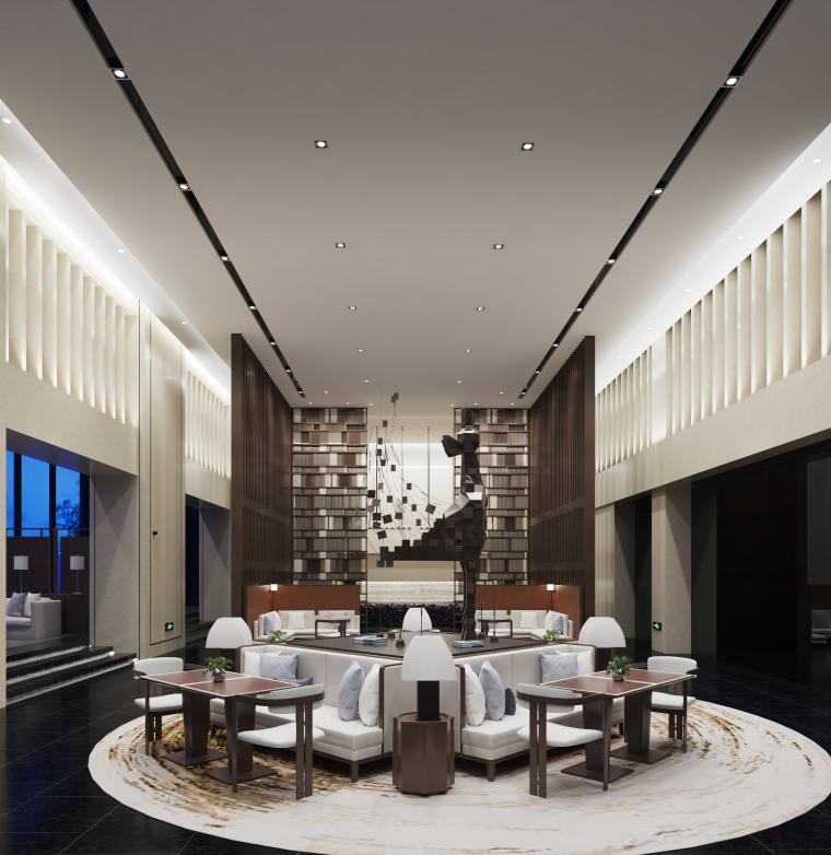 儒雅之风|现代艺术大堂休息空间设计3D模型(附效果图)