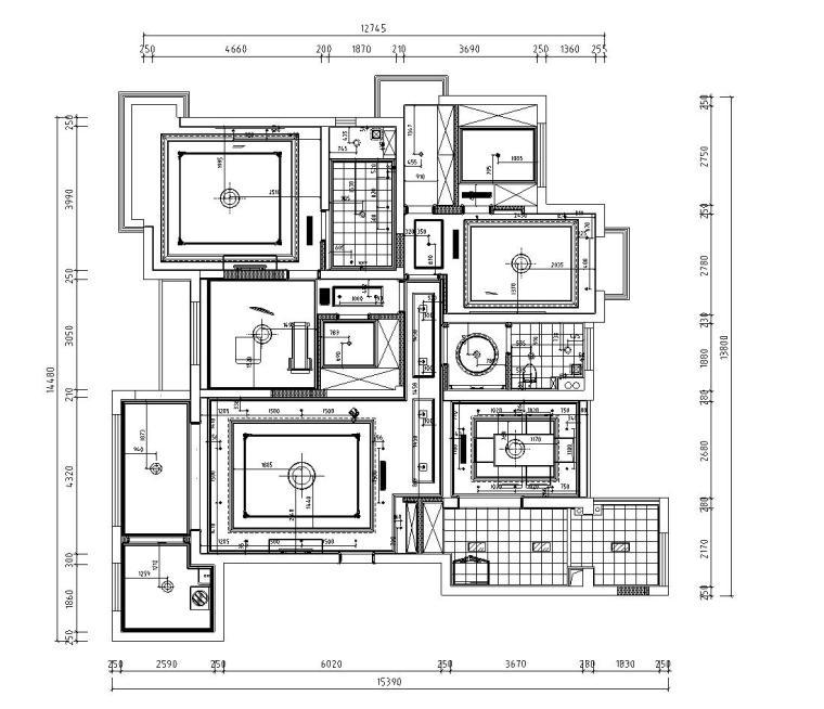 欧式风格阳光国际样板房详细施工图设计-灯具尺寸图