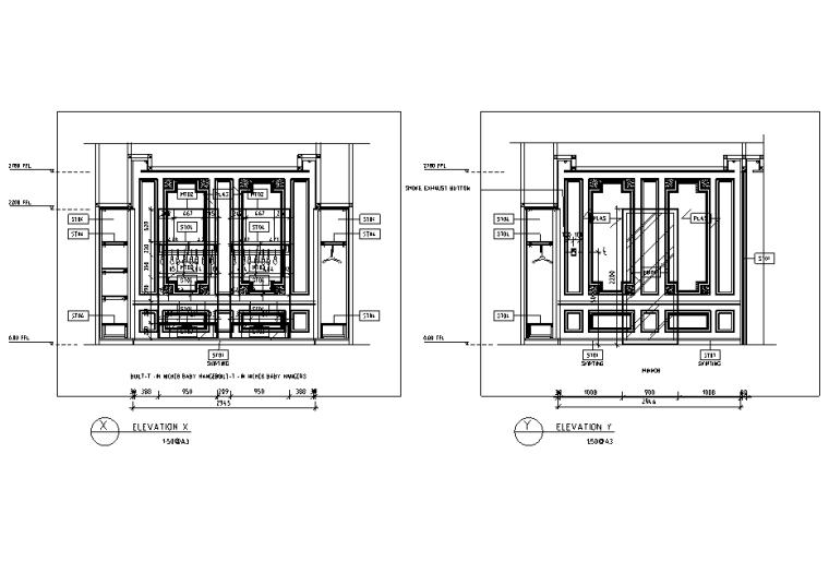 [上海]恒隆广场盟可睐Moncler专卖店设计施工图(附官方摄影图)-立面图