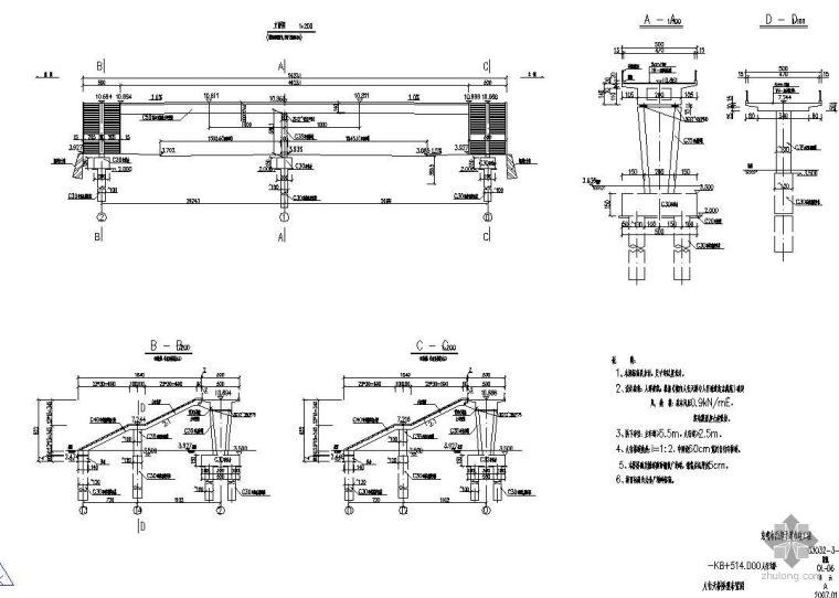 东莞市西部干道市政工程某人行天桥施工图设计