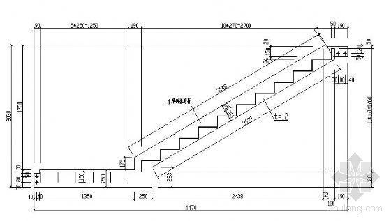 两跑钢结构楼梯详图(三)