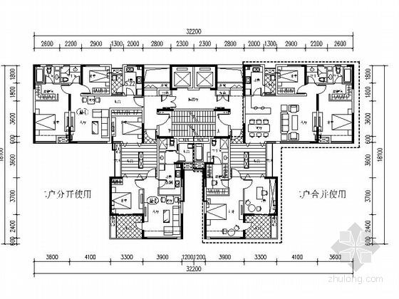 [万科户型]一核四户高层住宅户型平面图(350平方米)