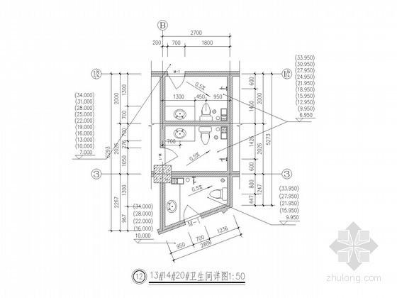 十二层欧式风格商住楼卫生间详图