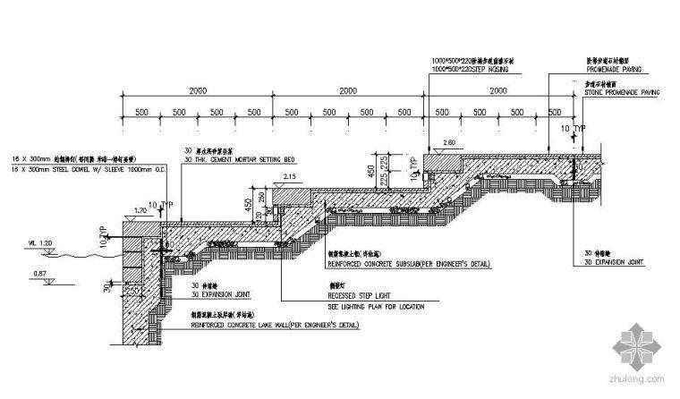 泊船处阶梯式石驳岸做法详图