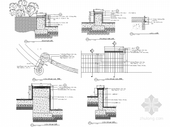[浙江]细致典雅艺术居住区景观施工图(图纸丰富)-挡墙详图