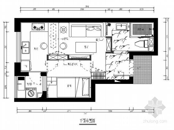 [福建]小户型一室一厅简约风格室内装修施工图(含效果)