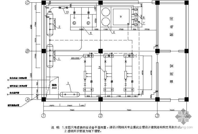 某小区热力站管道平面图