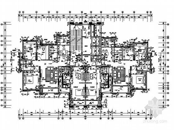 高层住宅一梯四户型图(120、134、44平方米)