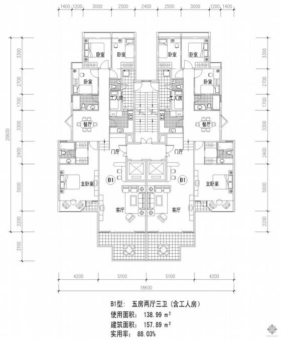 板式高层一梯两户五房两厅三卫户型图(139/139)