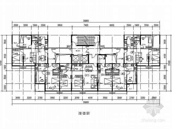 [万科户型]一核六户高层住宅户型图(404平方米)
