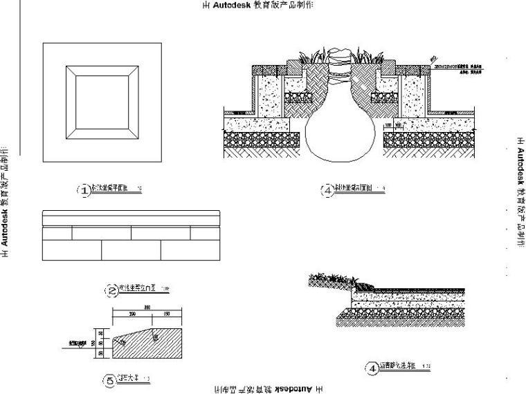 [浙江]省道大路交叉口景观绿化设计施工图(2016年独家最新)-树池坐凳、沥青路详图