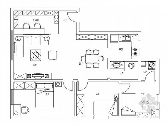 简约时尚精致三居室样板间装修图(含3dmax模型及效果)